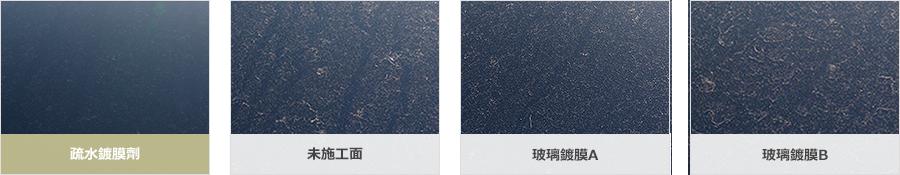疏水鍍膜劑,未施工面,玻璃鍍膜A,玻璃鍍膜B在室外暴露試驗3個月後的比較圖像.