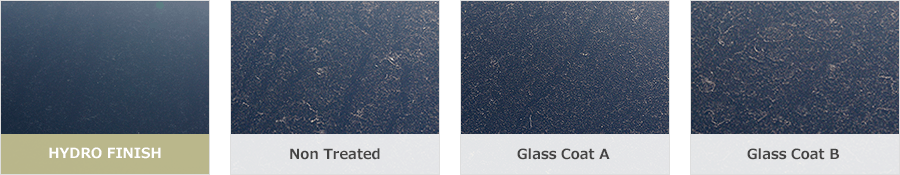 Comparison photos among HYDRO FINISH, Glass Coat A and Glass Coat B which exposed outside 3 months.